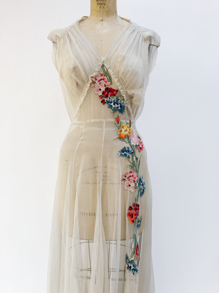 1930s Ivory Silk Embroidered Chiffon Gown - S