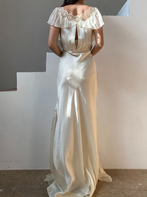 1930s Satin Bias Slip Gown - S