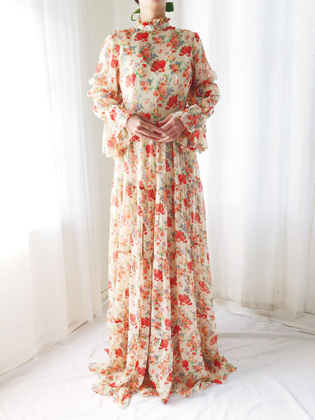 Silk Chiffon Floral Maxi Dress  - S/M