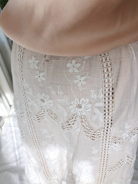 Antique Cotton Muslin Embroidered Skirt- XS-M (Flexible Waist)