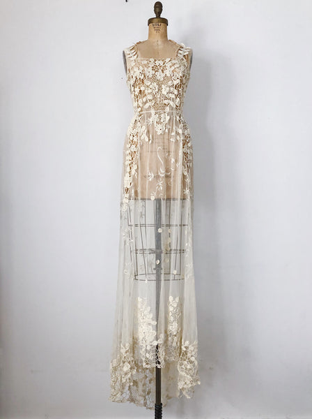 Edwardian Belle Époque Irish And Embroidered Lace Gown - S