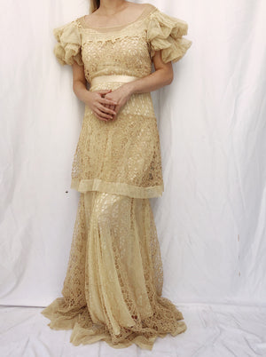 RESERVED 1930s Ecru Embroidered Gown - S