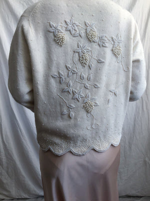 1950s Cream Beaded Angora/Wool Cardigan - S/M