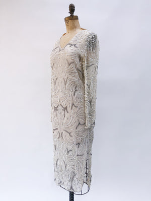 1980s Ivory Beaded Silk Gown - S