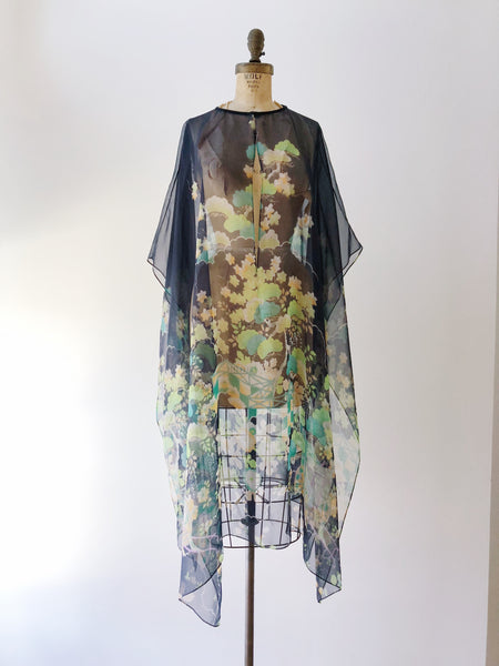1960s Sheer Midnight Floral Duster/Overdress - One Size