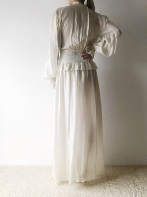 1940s Habotai Silk Poet Sleeve Dressing Gown - XS/S