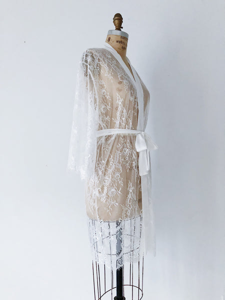 White Sheer Lace Robe - One size