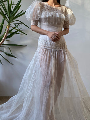 1930s Ivory Organdy Sheer Gown - XS/S