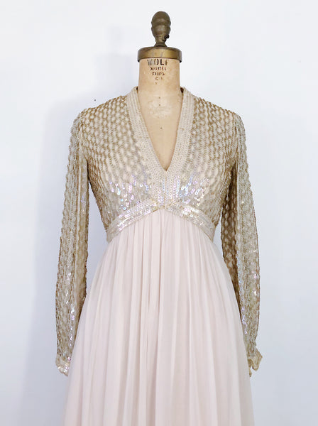 1960s Oyster Chiffon and Sequins Gown - S