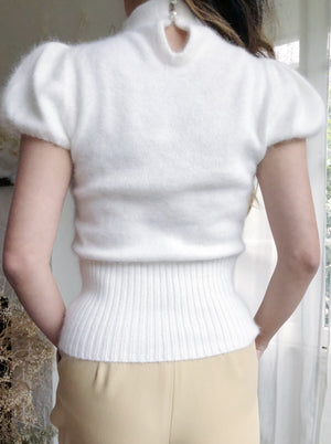 Vintage Ivory Mock Neck Fuzzy Top - XS
