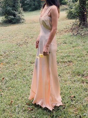 1930s Peach Satin Bias Slip Gown - S/M
