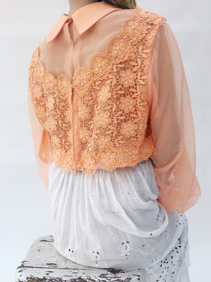 1960s Sherbet Orange Poet Sleeve Top - S/M