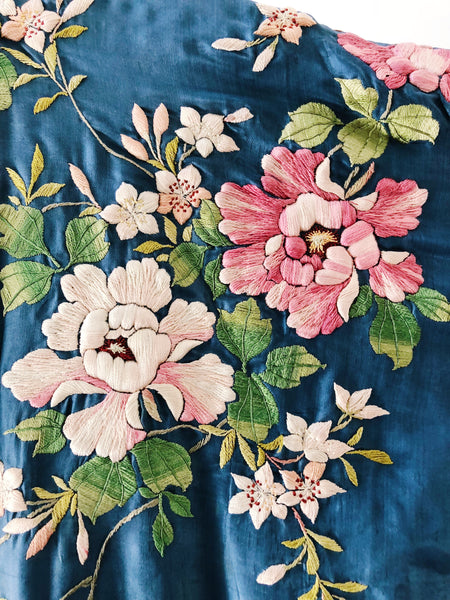 Antique Blue Silk Colorful Blossom Embroidered Kimono - One Size