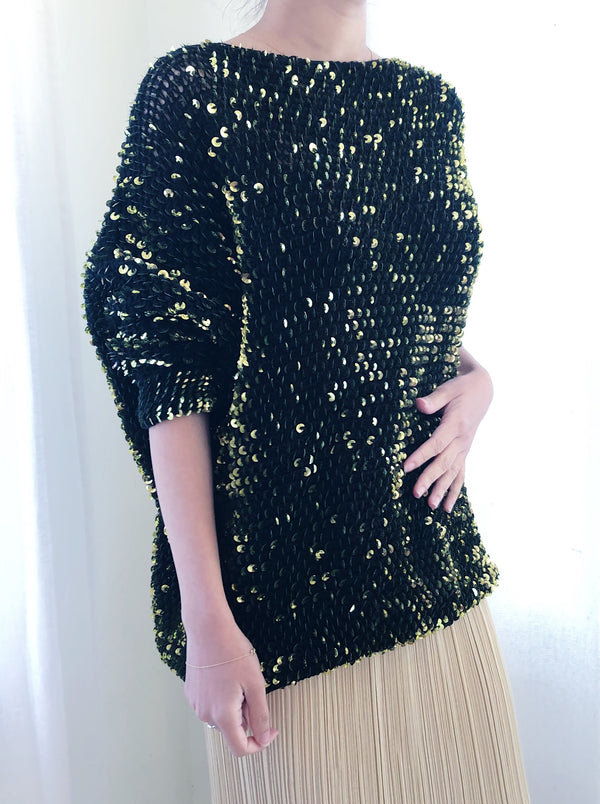 1980s Iridescent Green Dolman Sleeve Sweater - S/M