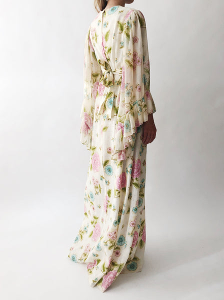 1970s Angel Sleeves Floral Maxi Gown - S