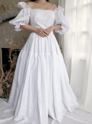 Vintage White Off-Shoulder Cotton Puff Sleeve Dress - S/M