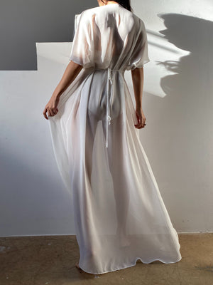 1980s Split Sleeve Chiffon Dressing Gown - OSFM