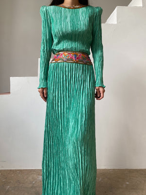 1980s Mint Green McFadden Pleated Gown - US 8/M