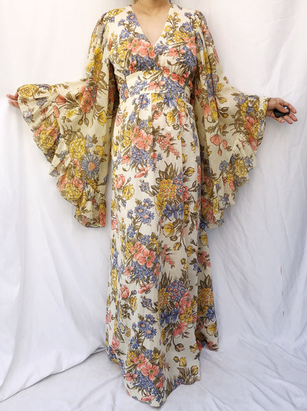1970s Floral Print Angel Sleeves Maxi Dress - S/M