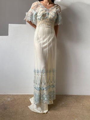 Antique Sheer Embroidered Net Dress  - S