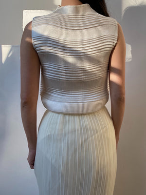 1980s Ivory Micro Pleated Top - S-L