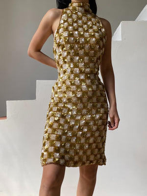 1980s Silk Halter Sequined Dress - M