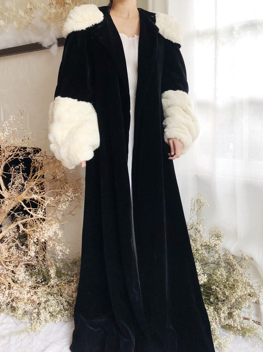 Antique Silk velvet Coat with Mink Collar and Sleeves - S/M