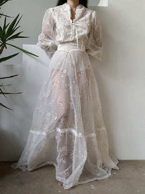 Vintage Sheer Puff Sleeve Gown - S/M