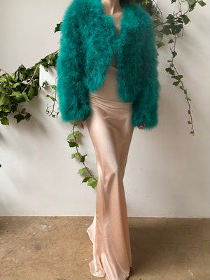 Vintage Emerald Green Feather Jacket - S