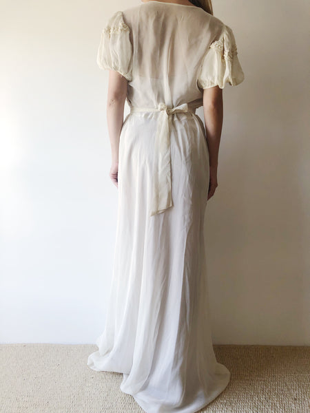 1940s Chiffon Gown with Floral Pin - S