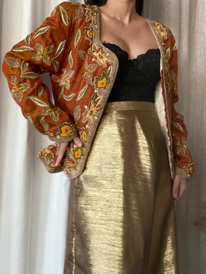 Vintage Silk Beaded Embroidered Jacket - M