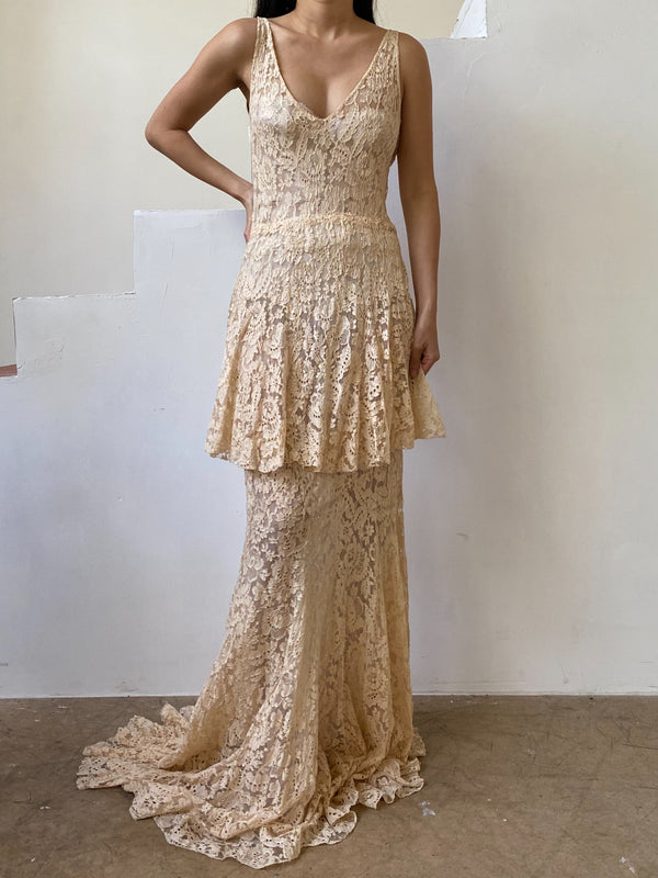 1930s Peach Lace Gown - S