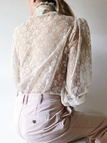 1970s Lace High Neck Top With Removable Ruffle - S/M