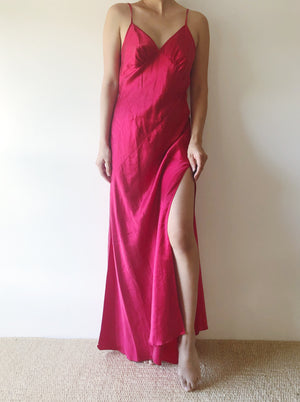 1990s Red Silk Bias Cut Slip Dress - S/M