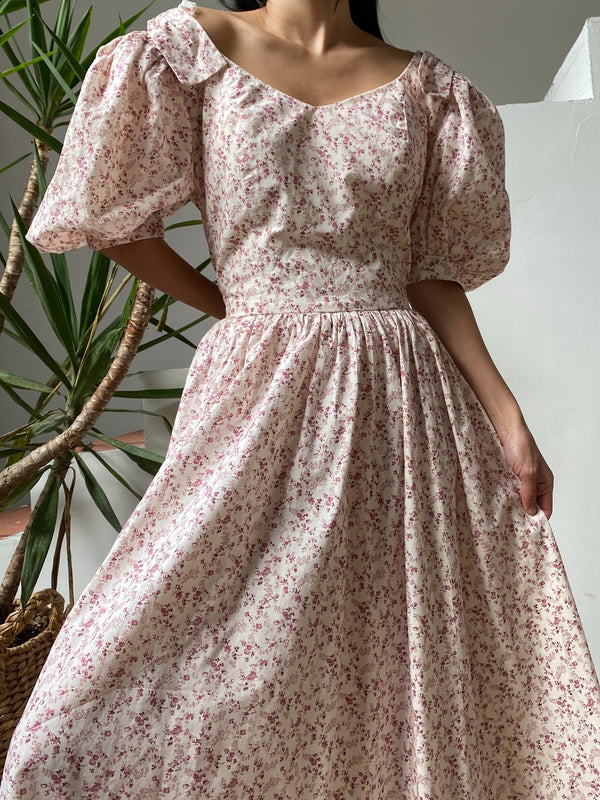 Vintage Calico Cotton Puff Sleeves Dress - M