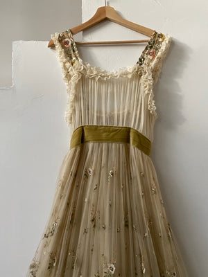 Antique Rare Chiffon and Organza Gown - S/M