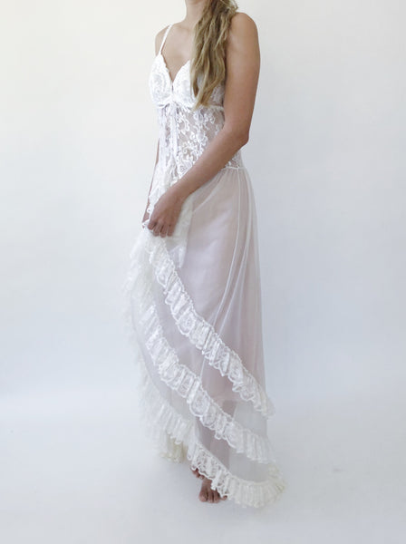 Vintage Ivory/White Lace Negligee - S/M