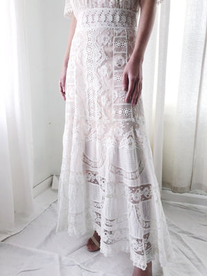 Antique Cotton and Mixed Lace Dress - S/M