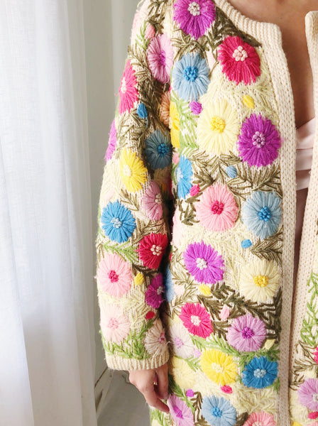 1950s/60s Floral Embroidered Coat - M