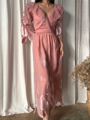 Vintage Chiffon Rose Pink Dress - S/M