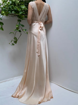 1930s Light Peach Silk Bias Gown - S/M