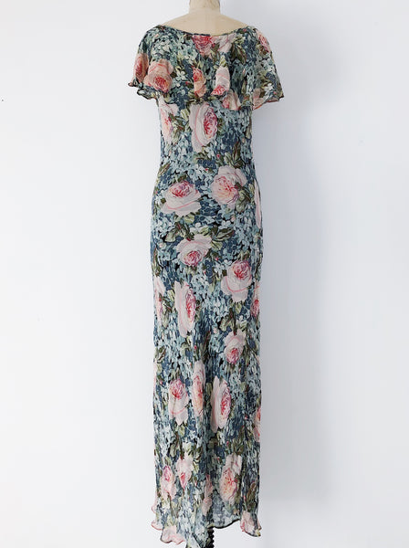 1980s Rayon Floral Bias Cut Dress - S/M