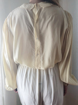 1940s Silk Crepe Embroidered Top - S/M