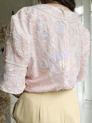 1980s Pink Silk Beaded Top - S/M