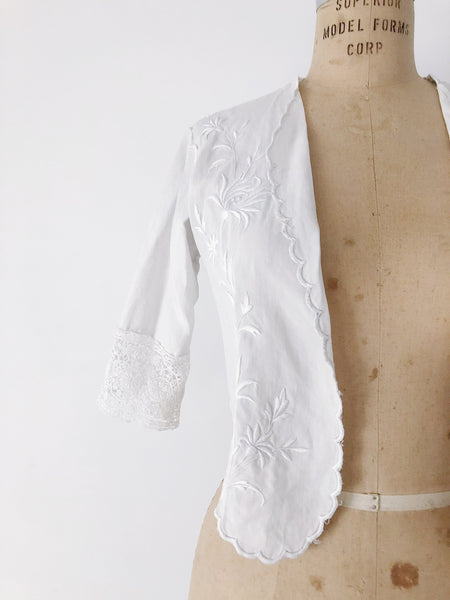 Edwardian Linen Embroidered Jacket - S
