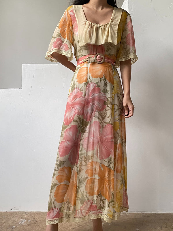 1940s Silk Hibiscus Floral Dress  - S/M