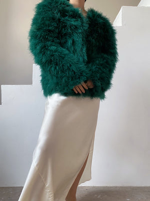 Vintage Emerald Green Feather Jacket - M
