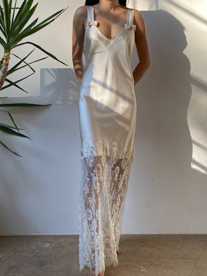 Vintage Silk Charmeuse and Lace Slip Dress - S