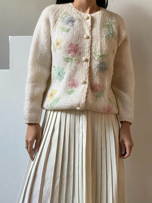 1950s Ivory Floral Beaded Cardigan - M