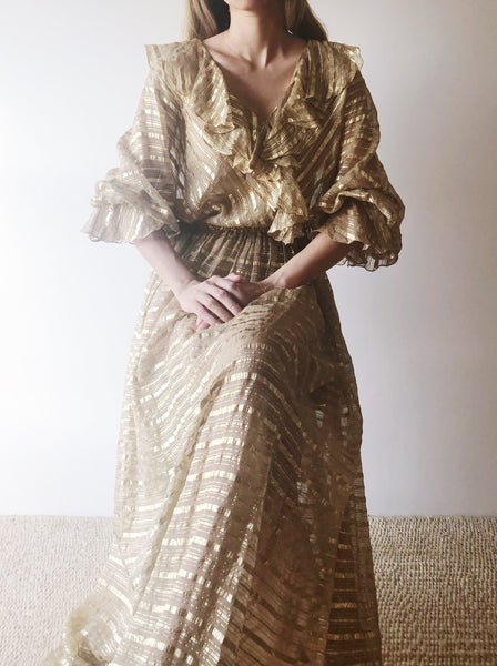 1960s Gold Silk Lurex Gown - M/L